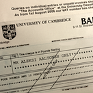 University of Cambridge cheque
